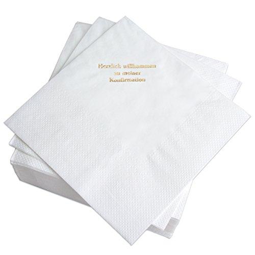 Geschenke mit Namen Servietten, 50 Stück, Zellstoff, Weiß, 17 x 17 x 4 cm, Einheiten