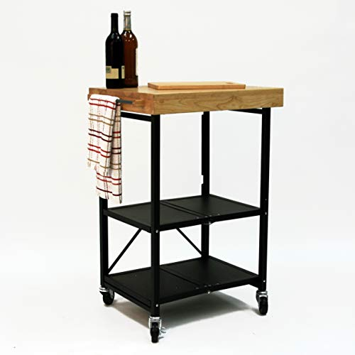 Origami Folding Kitchen Cart on Wheels | for Chefs Outdoor Coffee Wine and Food, Microwave Cart, Kitchen Island on Wheels, Rolling Cart, Kitchen Appliance & Utility Cart | Black with Wood -RBT-03