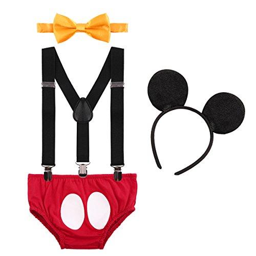 IBTOM CASTLE Neugeborenen Kleinkind Baby 1./2./3. Geburtstag Mickey Mouse Halloween Kostüm Outfit Hosen+Fliege+Clip-on Hosenträger+Maus Ohren 4pcs Bekleidungssets Foto-Shooting 001 Rot 6-12 Monate