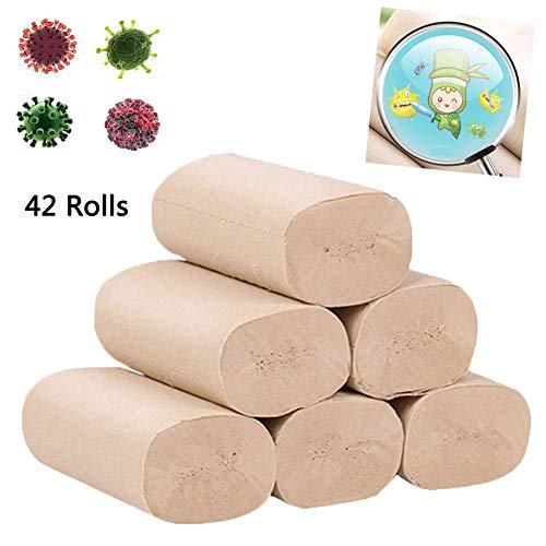 Toiletpapier 42 rollen Natuurlijke bamboepulp 4-laags standaardrollen Toiletpapier Snel oplosbare zachte papieren handdoeken