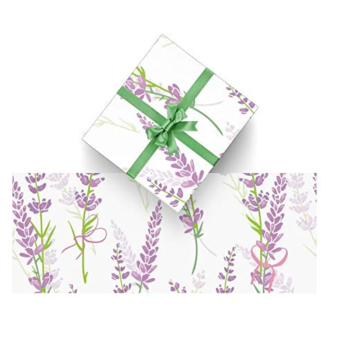CUXWEOT Gift Wrapping Paper Purple Lavender Flower for Christmas,Birthday,Holiday,Wedding,Gifts Packing - 3Rolls - 58 x 23inch Per Roll
