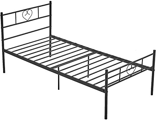 Adult Solid Metal Structure with a headboard Double Metal Bed Frame, Pedals and slats 140 x 190 cm,90 * 190cm