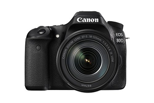 "Canon EOS 80D - Cámara réflex digital de 24.2 MP (pantalla táctil de 3"", video Full HD, enfoque automático, WiFi, objetivo Canon EF 18 - 135 mm f/3.5 - 5.6 IS (versión importada))"