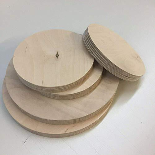 Runde Holzscheibe Holz Rund Birke Multiplexplatte Scheibe Multiplex Tischplatte Rundholz (Stärke/Dicke 21mm, Ø 120mm)