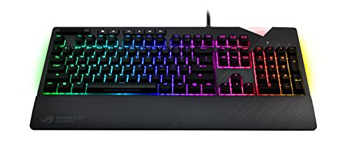 Asus ROG Strix Flare Gaming Tastatur (mechanisch, Cherry-MX Red Switches, Aura Sync, Handballenauflage, deutsches Tastatur-Layout)