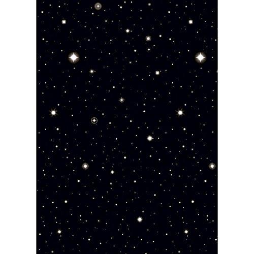 NET TOYS 1,22 x 12,22 m Sterne Wanddeko Sternenhimmel Wandfolie Hollywood Nachthimmel Folie Sterne Raumdeko Party Dekoration