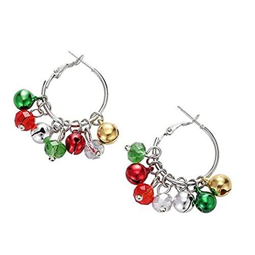 Runfon 1 par de Navidad Bell Hoop Pendientes Hipoalergénicos Hitoalergénicos Pendientes Colorido Jingle Bell Pendiente Regalos de Joyería de Navidad para Mujeres Chicas