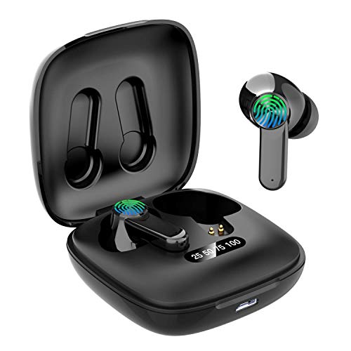 Bluetooth Headphones,2020 Updated Bluetooth 5.0 Wireless Headphones Stereo Sound Microphone Mini Wireless Earbuds Running Headphones with Portable Charging Case for IOS Android PC(ER-1)