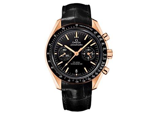 Omega Speedmaster Moonwatch Black Dial Chronograph 18kt Rose Gold Black Alligator Leather Mens Watch 311.63.44.51.01.001