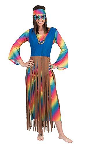 Funny Fashion Rainbow Hippie Fransen Kleid Lucy für Damen Gr. 40 42