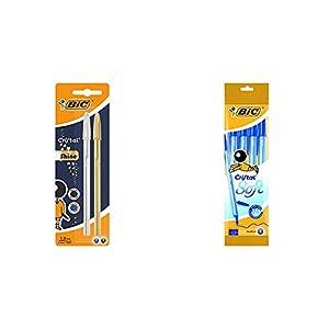 BIC Cristal Shine bolígrafos punta media (1,0 mm) Cuerpo y colores Surtidos, Blíster de 2 unidades + Cristal Soft…
