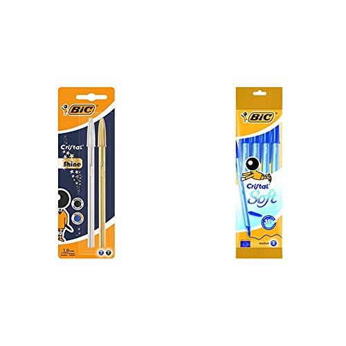 BIC Cristal Shine bolígrafos punta media (1,0 mm) Cuerpo y colores Surtidos, Blíster de 2 unidades + Cristal Soft bolígrafos punta media (1,2 mm) Azul, Blíster de 4 unidades