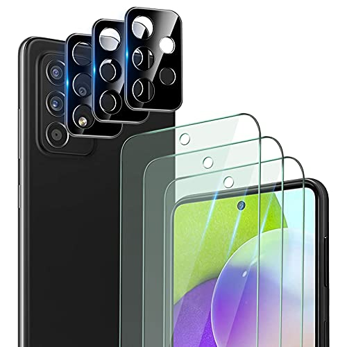 QHOHQ 3 Stück Schutzfolie für Samsung Galaxy A52 4G/5G mit 3 Stück Kamera Schutzfolie, Panzerglas Membran, 9H Härte - HD - Anti-Kratz - Blasenfrei - Einfach Installieren