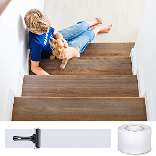 DanceWhale - Strisce adesive antiscivolo per scale, 10 cm x 10 m, sicurezza per bambini, anziani e animali domestici, per interni ed esterni