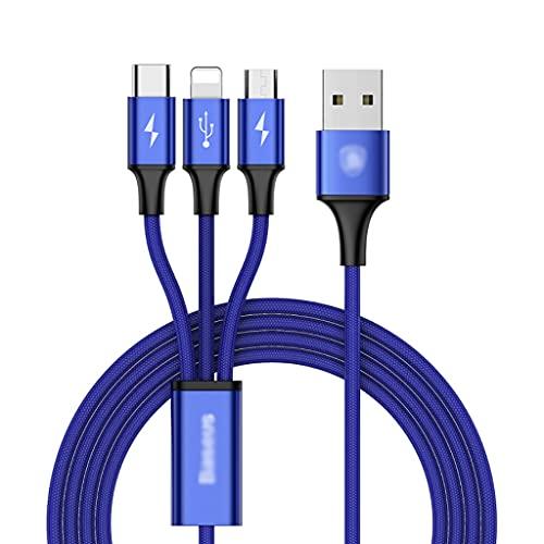 AWYST Cable 3 en 1 Cable de Cargador Universal Micro USB/Tipo C Múltiples Cordones de Carga Compatible con los teléfonos y Almohadillas más Inteligentes (1,2 m) Cargador (Color : Blue)