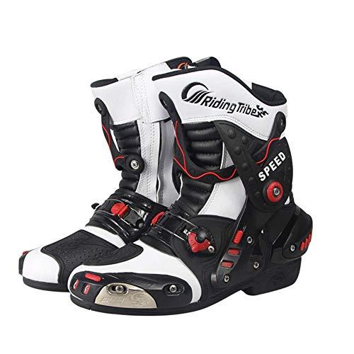Sooiy Botas de protección Zapatos de la Motocicleta Road Racing Bike Racing Grips Zapatos Botas Resistentes a los Cargadores de la Motocicleta de los Hombres de,Blanco,42