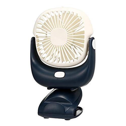 HLVU Standventilatoren Tragbarer 360 Grad einstellbar 2 in 1 Klipp auf Fan Camping Fan USB aufladbare Mini Desk Pram Fan für Büro-Gebrauch (Color : Black+White, Size : One Size)