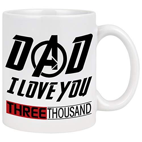 Love You 3000 Tasse Iron Man Kaffeetasse für Papa Marvel Geschenke für Männer Papa Vater bester Papa Geschenke von Tochter Sohn für Avenger Fans Vatertag Geburtstag Weihnachten Geschenke 313 ml