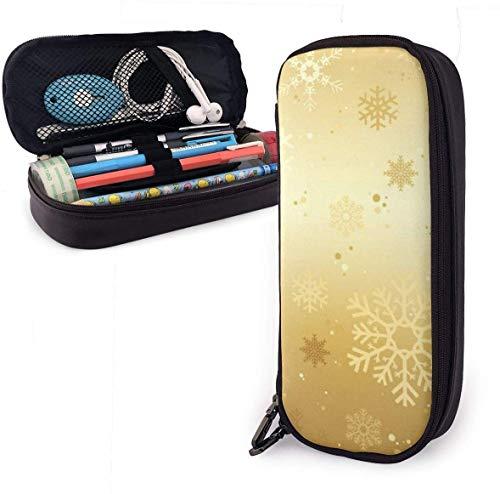 Navidad oro color copos de nieve cuero caja de lápices cremallera papelería bolsa bolsa pluma caja maquillaje cosmético bolsa