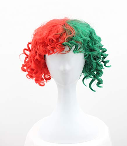 Halloween Party Online Christmas Singer Wig, Green & Red Adult