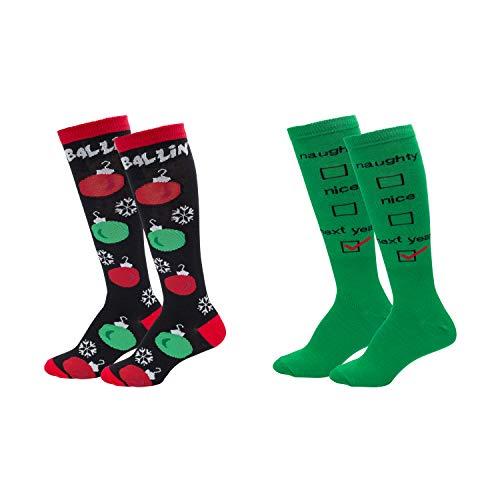 Womens Fun Colorful Festive Novelty Holiday Christmas Hanukkah Socks-Knee Highs-2 Pairs-OSFM Shoes (4-10)-Naughty or Nice/Ballin