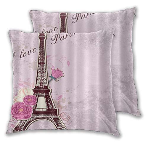DECISAIYA 2 Funda De Almohada,París Francia Torre Eiffel y Flores Romc Love,Decoración Cojines Sala De Estar Sofás para Camas Sillas Dormitorio Jardín Coche,55x55cm