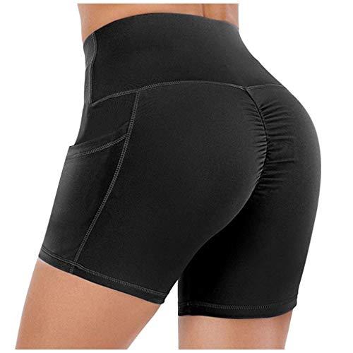 Buy Bargain FD Izmn Womens Elastic Booty Shorts with Pockets High Waist Leggings Tights Sports Casua...