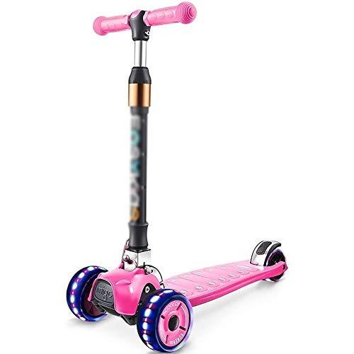 Patinete Kick Scooters Barras de motos, Scooter adultos, Vespa Ruedas, Kick Kick plegable niños con doble intermitente trasero de ruedas, ajustable Manillar, con absorción de impactos for 2-13Yr niña,