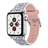 Wolait Compatible with Apple Watch Band 38mm 40mm Series 6/5/4/3/2/1/SE, iWatch Leather Glitter Sparkly Wristband Bracelet for Women-Silver