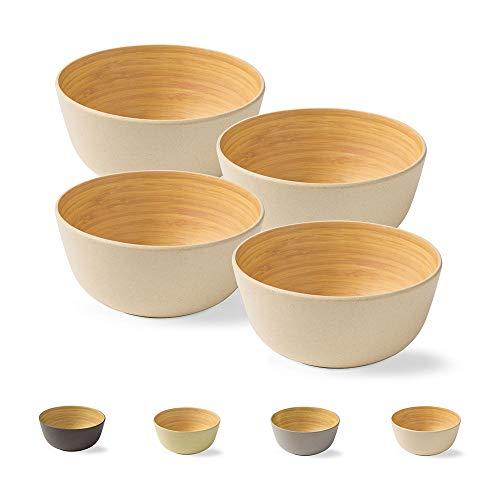 4 Piezas Cuenco de bambú de Primera Calidad Verde a 450 ml I vajillade bambú Cuenco de Cereales Cuenco de Fruta Cuenco de Madera Cuenco de la Ensalada Cuenco de la decoración