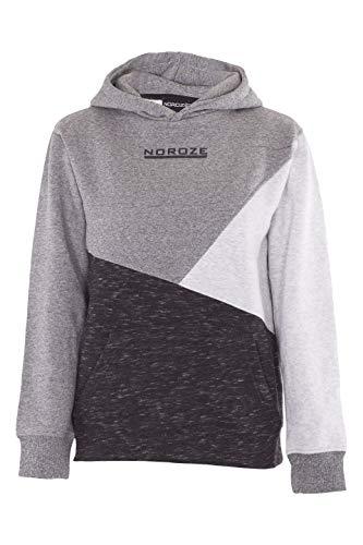 NOROZE Boys Hoodie Kids Contrast Fleece Sweatshirt Pullover Top 9 10 Years Charcoal