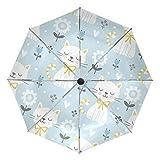 Paraguas de viaje compacto con diseño de gato, color azul claro, plegable, reversible, resistente al viento, protección UV, mango ergonómico, apertura y cierre automático
