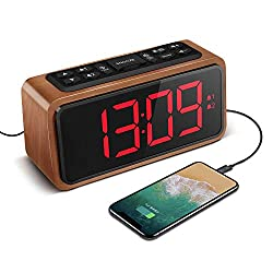 Radio Alarm Clock, Large LED Display Wood Digital FM Alarm Clock, Adjustable Brightness Dimmer and Snooze, Simple LED Clock with Dual Alarm, 12/24 Hour, Powered by AC Adapter (Red)