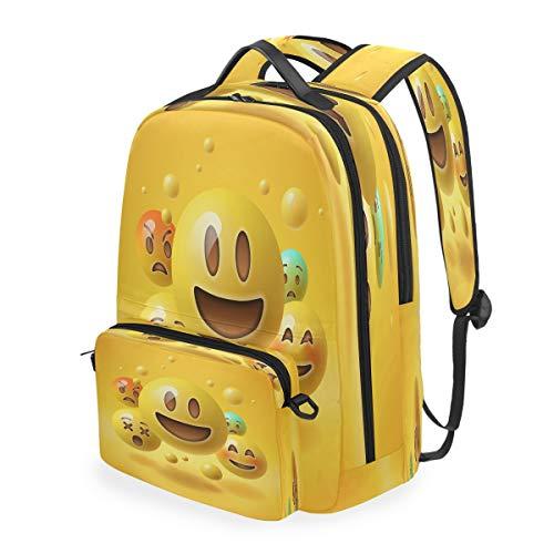 RXYY Yellow Funny Smile Emoticon Emoji Backpack Detachable College Student School Shoulder Computer Bags Backpacks Crossbody Laptop Bag Travel Bag Daypack Hiking for Girls Boys Women Men Kids