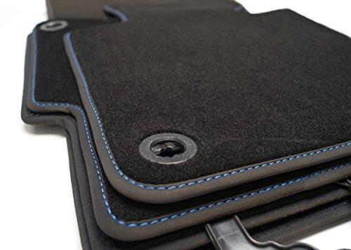kh Teile Fußmatten Velours Premium Automatte, Blaue Ziernaht, Original Qualität 4-teilig