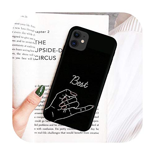 for iPhone 11Pro Xs Max Xr X 8 7 6 6S Plus 5S Se Cover King Queen Couple Cases Funny Pizza Best Friends Phone Case -Black-T5891-For iPhone 11 Pro