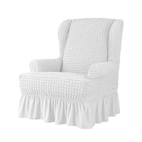 VanderHOME Stretch Sesselbezug mit Rüschen Ohrensessel husse Sessel-Überwürfe Ohrensessel Überzug Sofabezug Stretchbezug Stretchhusse Sofabezug Moderne Weiß