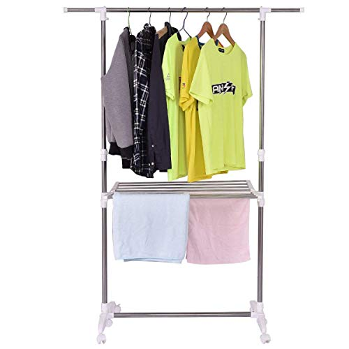 Tangkula Clothes Garment Rack Adjustable Heavy Duty Folding Extendable Towel Clothing Storage Organizer with Wheels and Shelf Silver and White with Shelf Wheels