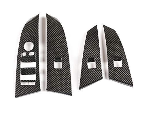 YINLANSTOR YLAN Store 4pcs Fibra de Carbono ABS Ventana de elevación Interruptor de Interruptor Ajuste para BMW 5 Series E60 E61 2004-06 Botón Tapa de Ajuste