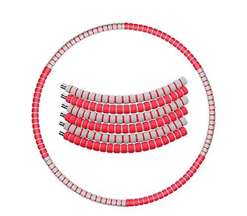 HJD SWEET Hula Hoop 6 Desmontable Fitness Body Yoga Call Hula Hoop pérdida de Peso Cintura Delgada Anillo Deportivo-Gris Rojo