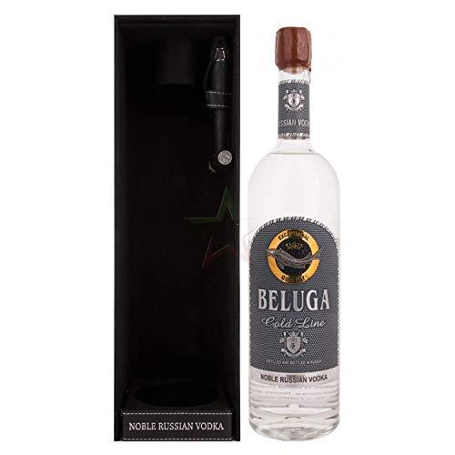 Beluga Gold Line Noble Russian Vodka 40% Vol. 1l in Giftbox in Lederoptik with Pinsel