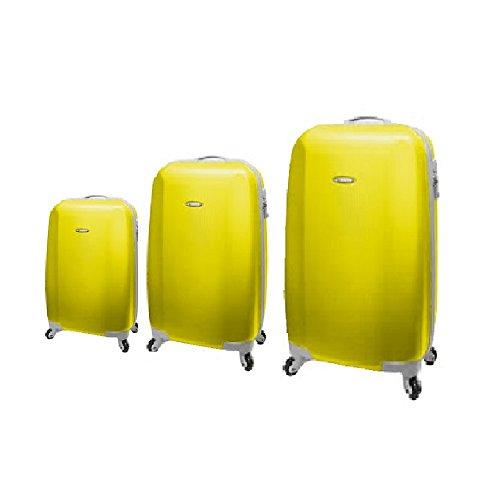 SET 3 TROLLEY RONCATO TRIXIE - ABS - 4 RUOTE - TSA - GIALLO