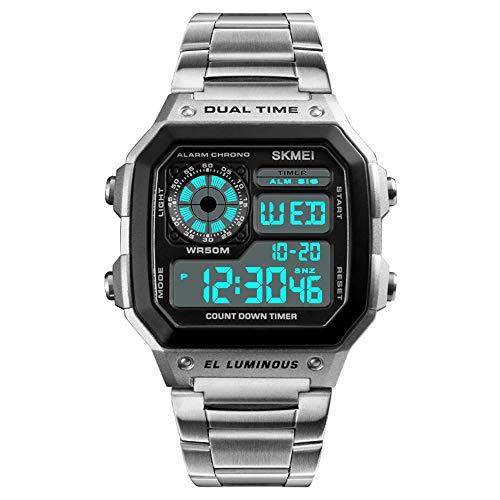 Digitaluhren Multifunktion Dualzeitzone Herrenuhren Kalender LED Armbanduhren für Herren Alarm Stoppuhr Edelstahlband, Silber