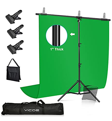 [Upgraded SANDBAG & Clamps Version] YICOE Green Screen with T-Shape Backdrop Stand, 3 Clamps & Sandbag, 5x6.5ft Chromakey Collapsible Photography Background Support System for Photo Video Studio