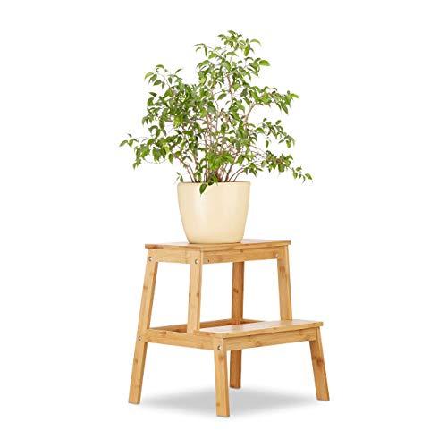 Relaxdays Bambus Blumenhocker, 2 Stufen, natürliche Optik, Stabiler Stand, niedrig, Grifföffnung, HBT: 47x42x42cm, Natur