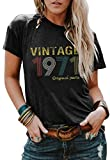 50th Birthday Gift T Shirt for Women Vintage 1971 Original Parts Tee Funny 49th Birthday Greeting Party Cute Casual Tops (Dark Grey, Large)