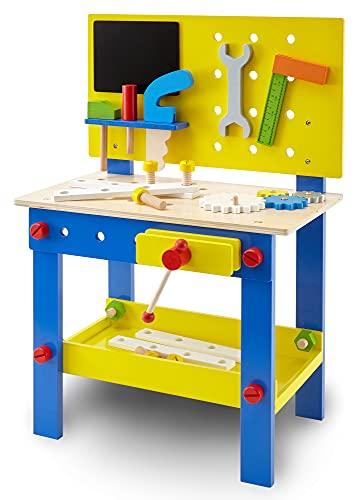 wuuhoo® I Kinder-Werkbank Woody aus Holz mit Zubehör I Farbenrohes Holzspielzeug I Mobile Werkstatt mit Werkzeug und Schraubstock für Kinder und kleine Handwerker