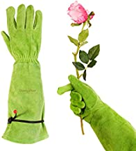 Dongzhur Professional Thorn Proof Gardening Gloves for Women Rose Pruning & Cactus Trimming, Long Sleeve Heavy Duty Ladies Garden Gloves, Cowhide Leather