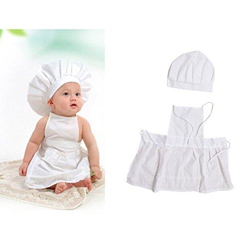 Adorable disfraz para recin nacidos o nios pequeos, diseo chef de cocina con delantal y gorro de punto, para sesiones fotogrficas, color blanco