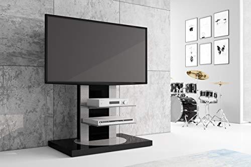 HU Fernsehtisch Roma H-777nw Schwarz oder Weiß Hochglanz 360° drehbar TV Möbel TV Rack LCD inkl. TV-Halterung (Schwarz Hochglanz)